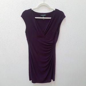 Lauren Ralph Lauren Faux Wrap Mini Dress, Dark Red